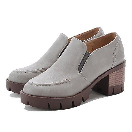 AllhqFashion Damen Ziehen auf Rund Zehe Niedriger Absatz PU Leder Rein Pumps Schuhe Grau