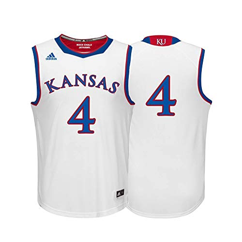 adidas Kansas Jayhawks NCAA 4 White Replica Basketball Jersey (L)