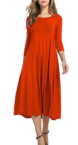 Sleeve 4 Pleated Loose Jaycargogo Women's 4 Swing Midi Casual 3 Dresses gtwtA7B