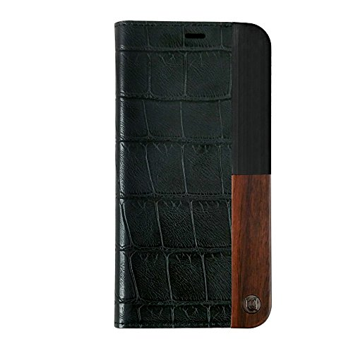 (iPhone X Case, Uunique, Black, Croc Leather design with (Genuine Wood) & combination of Aluminium Book / Folio Case, Magnetic Closing, Stand Function, Premium Protective Cover, Book Case)