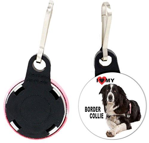 Rikki Knight I Love My Border Collie Dog Design 1 inch Zipper Pull Button (set of 4)