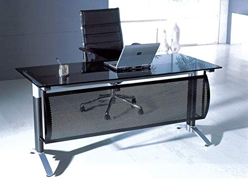Neos Modern Furniture CD12 Contemporary Home Office Glass Top Desk Table with Metal Frame, 63″ Smoke