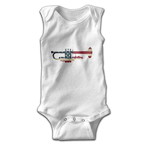 AZGNHM Baby Kids American USA Flag Patriotic Trumpet Gift Onesies Outfits (18 Months) White
