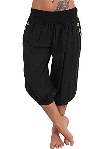 Womens Plus Size Harem Pants Aladdin Linen Loose Harlan Pants with Elastic Waist (Black, XXL)