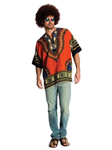 Rubie's Heroes and Hombres Men's Hippie Shirt and Wig, Orange, Standard -