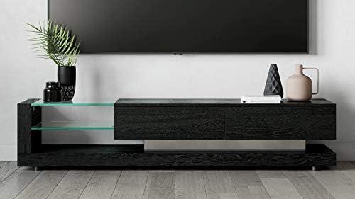 Zuri Furniture Etta 71 Inch Black Oak and Tempered Glass TV Stand with Storage
