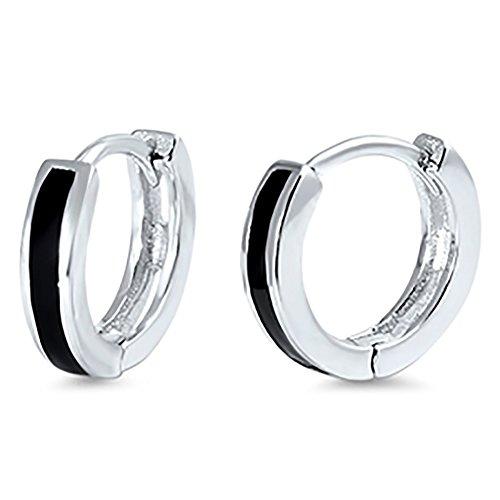 Huggies Hoop Earrings Simulated Black Onyx Inlay 925 Sterling Silver