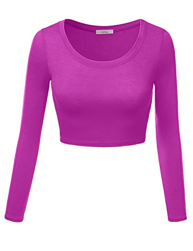 - Simlu Womens Crop Top Round Neck Basic Long Sleeve Crop Top with Stretch Reg and Plus Size - USA (Size Medium, Magenta)