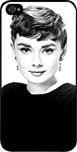 Audrey Hepburn-Black and White- Hard Black Plastic Snap - On Case-Apple Iphone 5 - 5s - Great Quality!