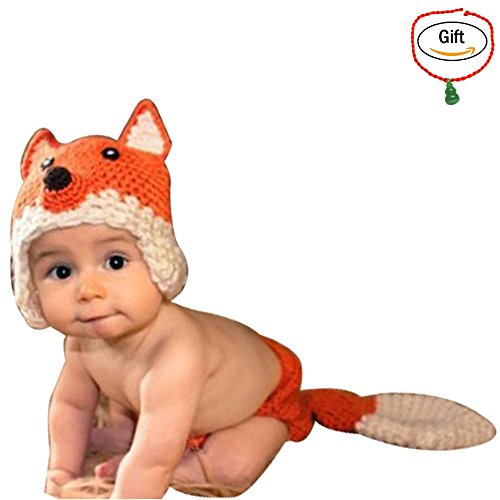 [Baigeda Newborn Baby Boy Girl Clothes Handmade Warm Soft Cashmere Crochet Knit Outfit Set Unisex Baby Cute Infant Costume] (Baby Fox Costumes For Infants)
