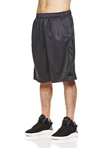 Above The Rim Men's Basketball Short Performance Mesh Athletic Workout Gym Shorts - 3 Point Range - Ebony, Large (Ebony Points)