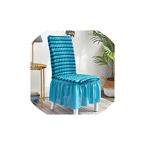 Jacquard Bubble Chair Cover with Skirt Elastic Slipcovers Removable Dining Seat Chair Covers Banquet Seat Cover,Blue,Universal Size