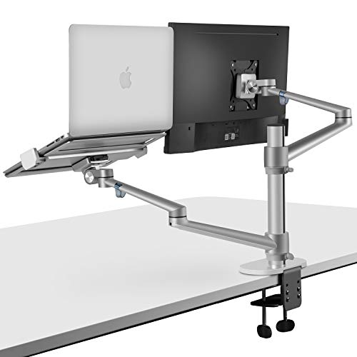 viozon Monitor and Laptop Mount, 2-in-1 Adjustable Dual Monitor Arm Desk Mounts,Single Desk Arm...