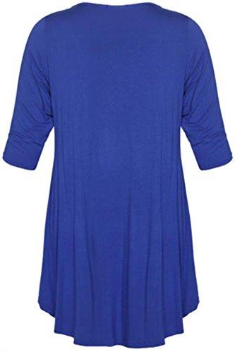 New Womens Plus Size Uneven Dip Hem Long Tunic Tops, Royal Blue , EU 48