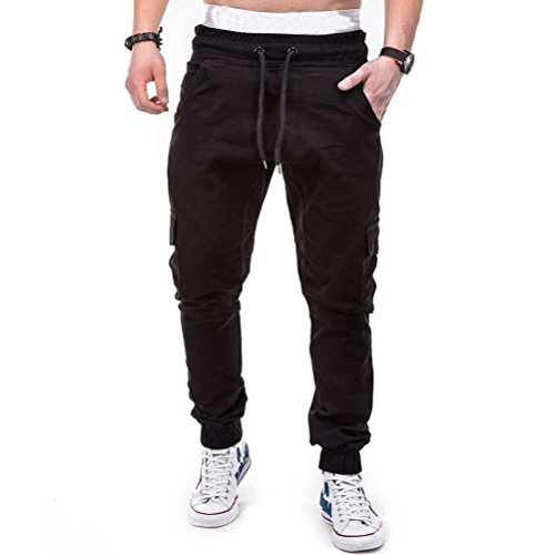 HTHJSCO Men's Jogger Pants - Casual Straight Tapered Trousers with Elastic Waist, Casual Loose Sweatpants Drawstring Pant (Black, XXXL) by HTHJSCO