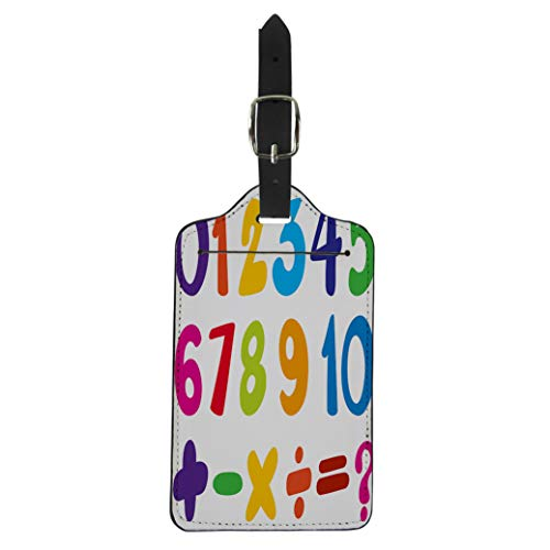 Tinmun Luggage Tag Math for Numbers and Sign in Colors Addition Brackets Suitcase Baggage Label Travel Tag Labels