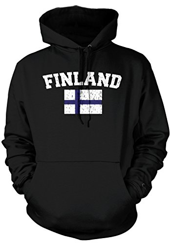 Amdesco Men's Finnish Finn Flag, Home Flag of Finland Hooded Sweatshirt, Black XL (Coat Finnish Of Arms)