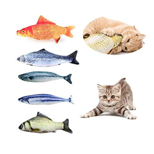 Heatigo Spielzeug mit Katzenminze 5 Stück katzenspielzeug Fisch Katze Interaktive Spielzeug 20CM Simulation Fisch Kissen…