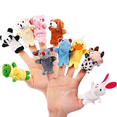 Uscyo Baby Finger Puppets, 10 pcs Kids Plush Animal Hand Puppets Set Puppets Cute Cartoon Doll Plays Gifts for Baby and Kids: Home & Kitchen