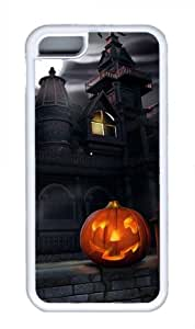 Haunted House and Pumpkin Lantern Halloween Miracaly Iphone 5C White Sides Rubber Shell TPU Case