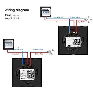 Sonoff Smart WiFi Switch, interruptores de luz de pared Touch inalámbrico Compatible con APP Control remoto Compatible con Alexa Google Home, estándar de la UE (cable neutro requerido)