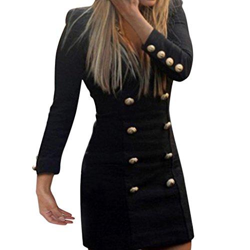 Women Dress,Sexyp New Sexy Slim Long Sleeve Buttons Dress Casual Bodycon Cocktail Mini Dress Skirt (Black, S)