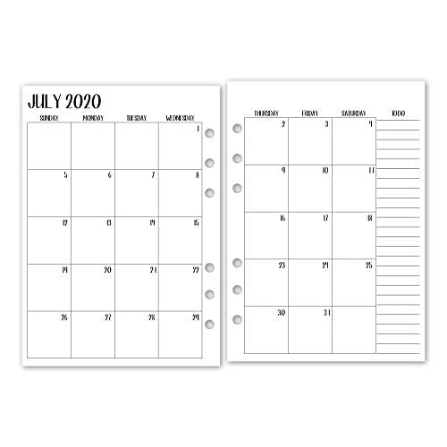 A5 Academic 2020-2021 Month on 2 Pages calendar planner deluxe refill, Monthly Sunday Start, July 2020 - June 2021, 5.83 x 8.27 inches