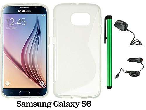 Samsung Galaxy S6 (2015 Samsung New Flagship Android Phone; US Carrier: Verizon Wireless, AT&T, Sprint, and T-Mobile) Phone Case - Premium Pretty S Shape TPU Flexible Design Rubber Skin Cover Case + Travel (Wall) Charger & Car Charger + 1 of New Metal Sty by WAM Samsung Galaxy S8