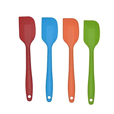 Bekith 8.5 inch Silicone Spatula Set of 4- One Piece Design Hygienic Solid Silicone Design- Premium Silicone Utensils Set - Perfect Silicone Scraper - Essential Cooking Gadget and Bakeware Tool