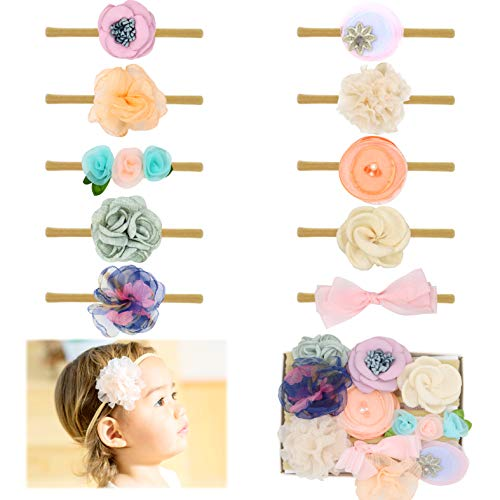Baby Girl Headbands Bows flowers,10 Pack Hair Accessories for Newborn Infant Toddler Gift by FANCY CLOUDS (lux) ()