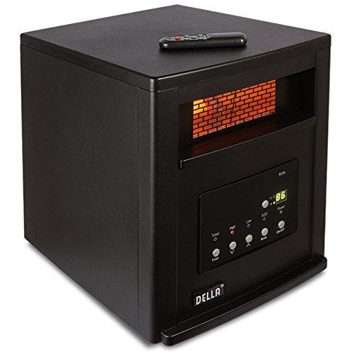 Della 1500-Watt Infrared Cabinet Large Room Heater with Remote Control, Black Della Infrared Heaters