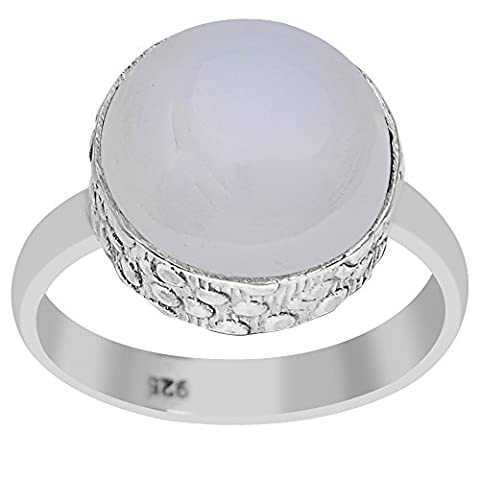 6.5 Ct 925 Sterling Silver Chalcedony Women's Ring (Size 7) - 6.5k Metal