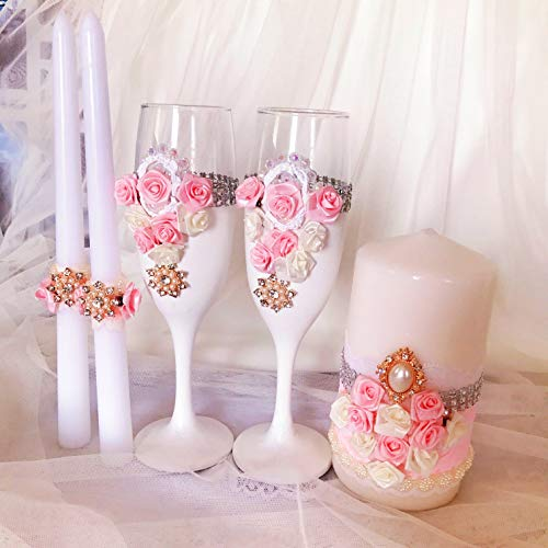Anastasia Ring Set (Wedding Set of Champagne Flutes and Glasses Unity Candles for Bride and Groom Wedding decor and accessories gift 5 items)
