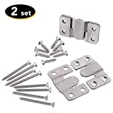 Furniture Flush Mount Bracket- Headboard Wall mount Hardware- Large Picture Hangers- Heavy Duty photo Frame Hook- Stainless Steel Interlocking Z Clips (Large Size, 2 Sets with Screws)