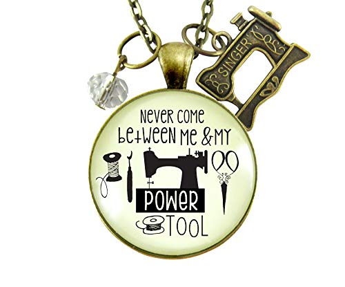 "24"" Seamstress Necklace Never Come Between My Powertool Fun Quote Womens Sewing Jewelry Vintage Inspired Machine Charm from Gutsy Goodness"