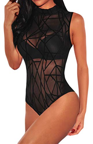 HaniLav Women's Summer Sexy Sheer Mesh Sleeveless Geometric Velvet Bodysuit Jumpsuit,Black,XL