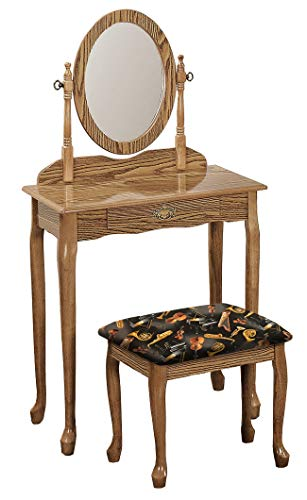 New Oak Finish Queen Anne Make Up Vanity Table with for sale  Delivered anywhere in USA