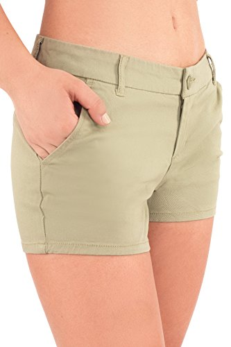 Bebop Women's Casual Shorts, Sage Green, Size 5, Stretch Cotton (Green Pocket Shorts)