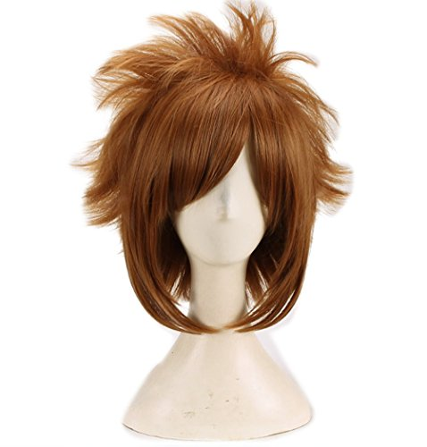 FWHWJ Sora Wig Kingdom Hearts Cosplay Brown Short Wig Hair Cosplay Accessories Halloween Party