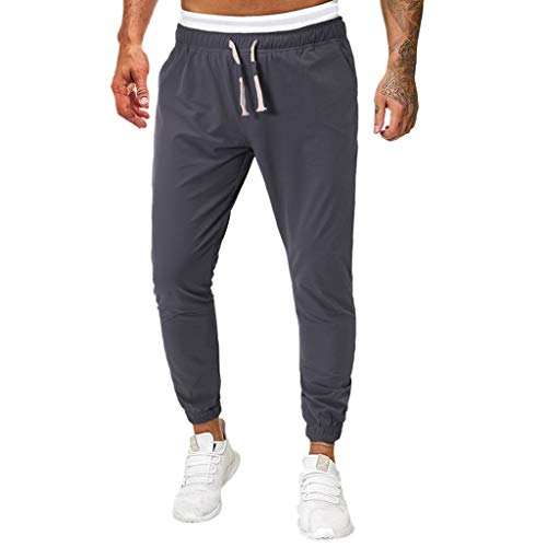 Aleola Men's Solid Color Long Jeans Slim Fit Pants Causal Trousers Full Length (Dark Gray,XXL)