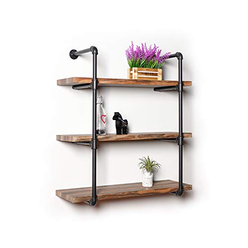 (IRONCK Industrial Shelving Pipe Shelf 3-Tier, Wood and Metal Frame, Rustic Home Decor Wall Decor, Wall Shelves for Bedroom, Bathroom, Kitchen )