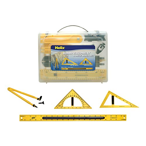 Magnetic Classroom Whiteboard Geometry 4 Piece Set, Includes Compass, 2 Triangles and Ruler (31619) (Demonstration Dry Erase)