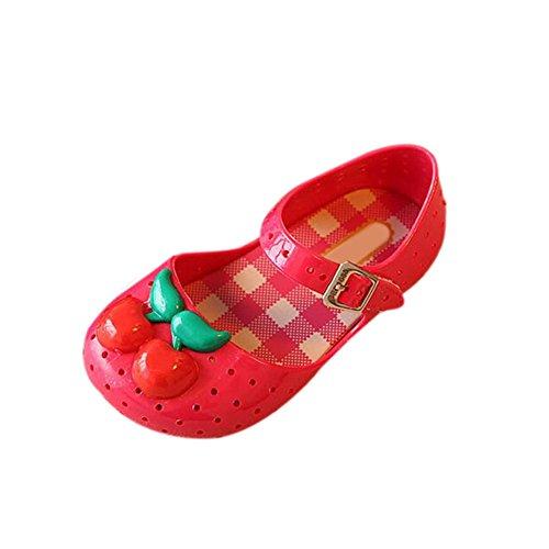 Hzjundasi Bebé Niña Antideslizante Respirable Cereza Casuales Suave Jalea Zapatos Niñito Niños Playa Sandalias Lluvia Botas Rojo