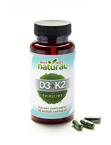 Green Vitamin K2 (MK7) & D3 10,000 IU Supplement w/US Organic Spirulina, 60 Capsules for Bone Health & Anti Aging Support :: Natural, Non GMO, Vegetarian for Men & Women by Why Not Natural 10000 Iu 100 Capsules