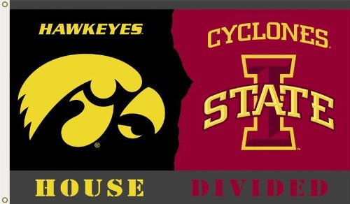 NCAA Iowa - Iowa State 3-by-5 Foot Flag with Grommets - Rivalry House (House Divided Garden Flag)