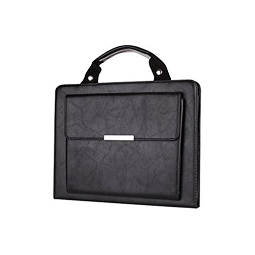 iPad Air 2 Case Bag,Ultra Portable Handle Carrying Leather Sleeve Case Bag Executive Smart Cover Built-in Flip Stand-Sleep/Wake Up Feature with outside pocket for Apple iPad Air 2 (iPad 6)-Black