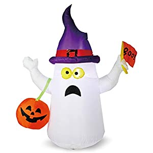 Joiedomi Halloween 5 FT Inflatable Ghost with Boo Flag with Build-in LEDs Blow Up Inflatables for Halloween Party Indoor…