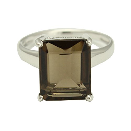 Rhodium Plated 925 Sterling Silver Smokey Quartz Square Set Ring, Size 6 Quartz Silver Plated Ring