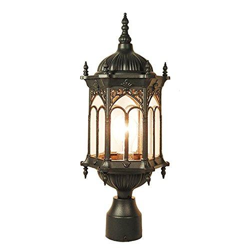 ETOPLIGHTING Rococo Collection Oil rubbed Matt Black Finish Exterior Outdoor Lantern Light Clear Glass, Post APL1118