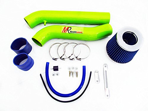 92 93 94 95 Honda Civic with 1.5L/1.6L Engine (CX/DX/LX/EX/Si) GREEN Piping Cold Air Intake System Kit with Blue Filter